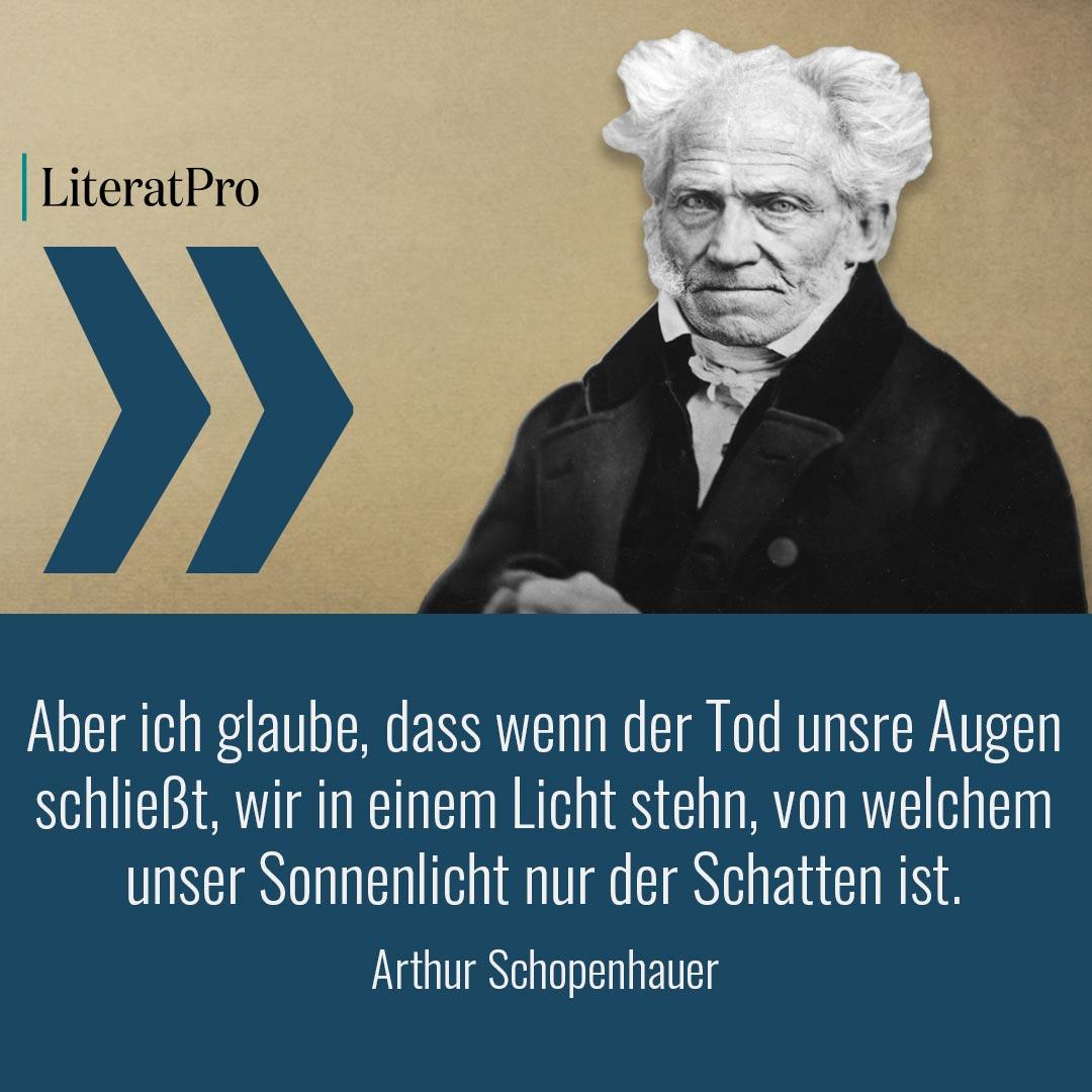 Bild zeigt Schopenhauer und Zitat Aber ich glaube, dass wenn der Tod unsre Augen schließt, wir in einem Licht stehn, von welchem unser Sonnenlicht nur der Schatten ist.