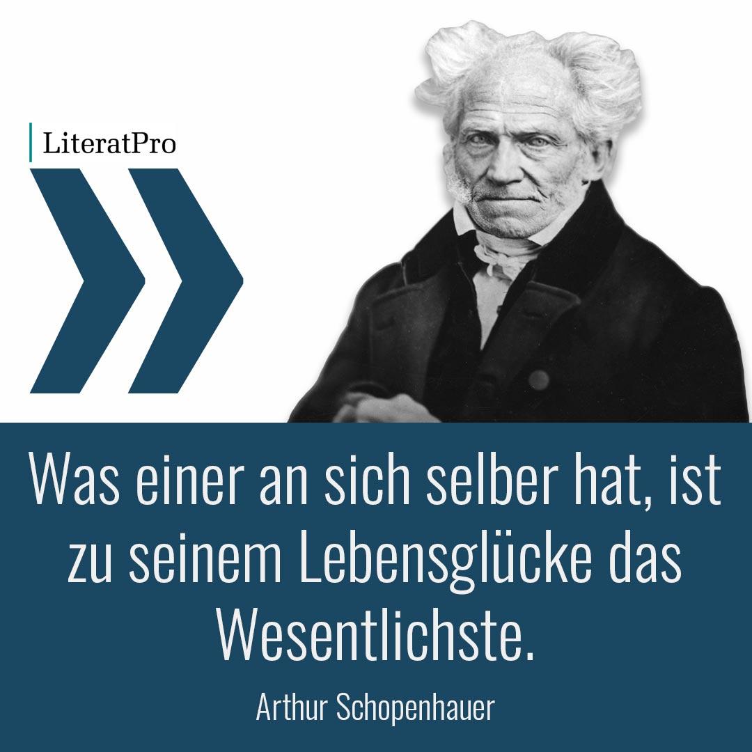 Aphorismus von Schopenhauer Was einer an sich selber hat, ist zu seinem Lebensglücke das Wesentlichste.