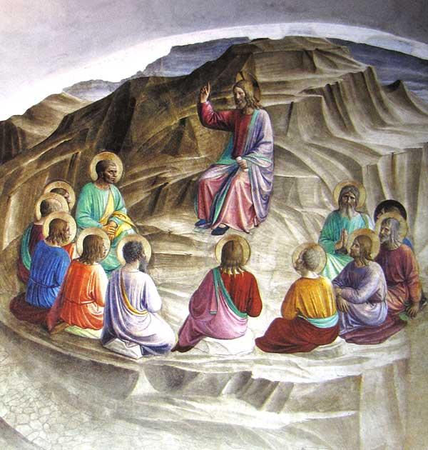 Bild zeigt Die Bergpredigt, Fresko von Fra Angelico (1437–1445)