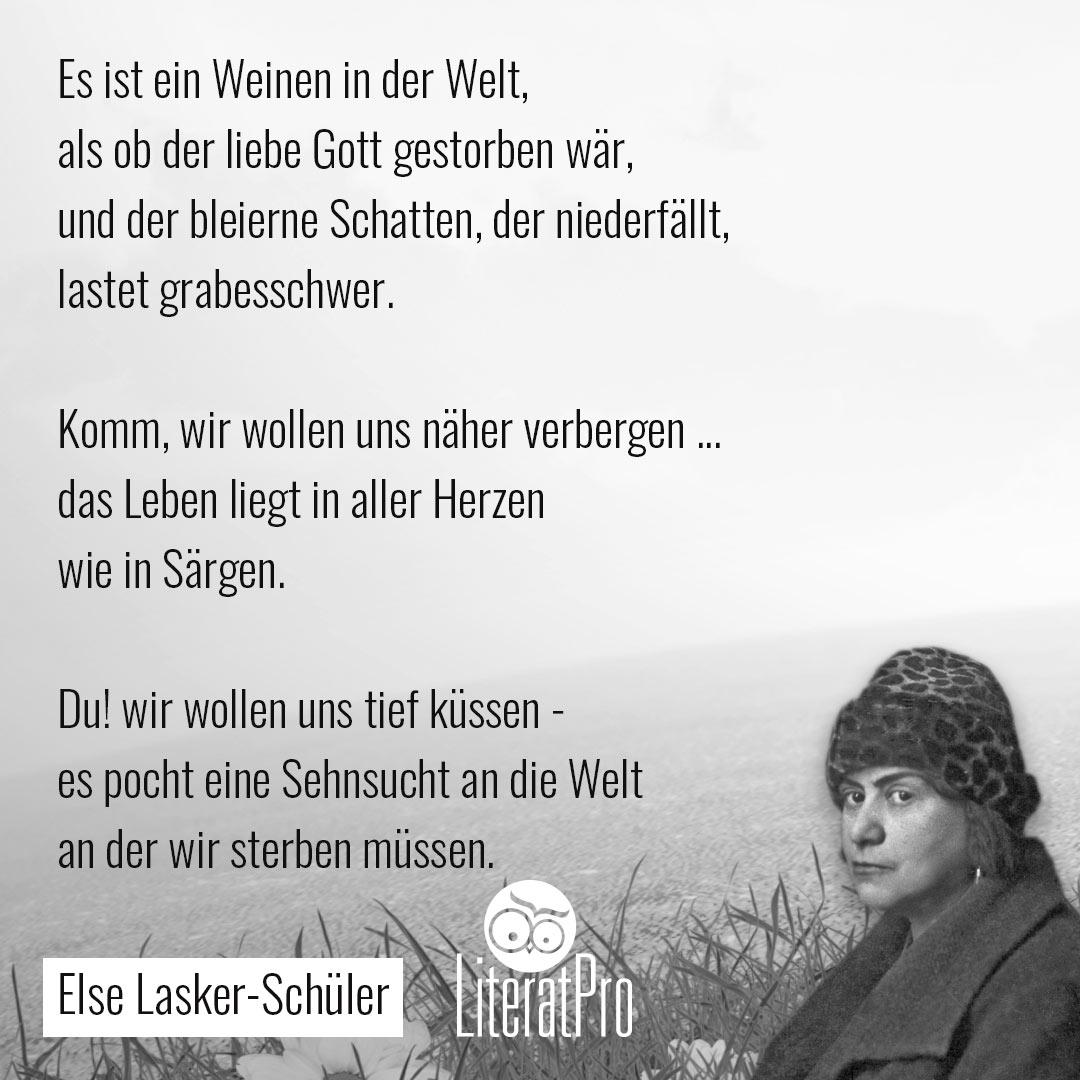 Bild zeigt Else Lasker-Schüler und das Gedicht Weltende