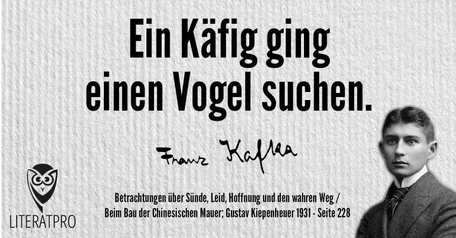 Bild zeigt Franz Kafka und Aphorismus - Ein Käfig ging einen Vogel suchen.