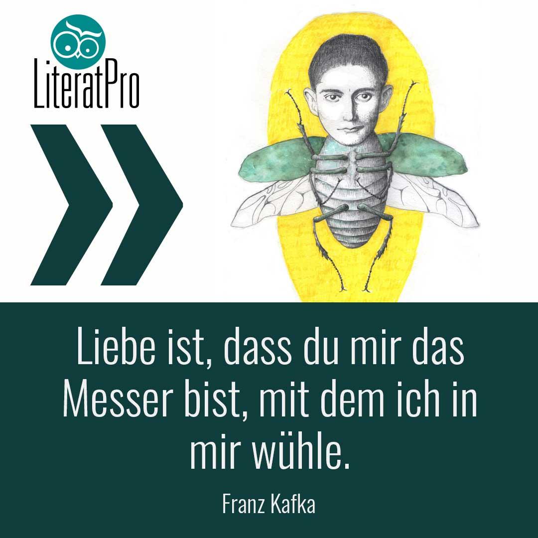 Bild zeigt Zitat von Franz Kafka - Liebe ist, dass du mir das Messer bist, mit dem ich in mir wühle.
