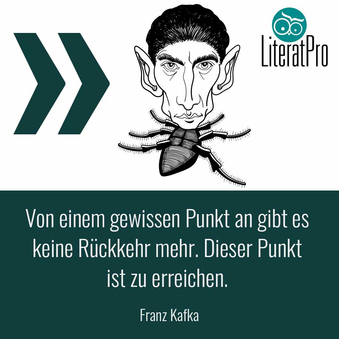 Bild zeigt Aphroismus und Franz Kafka - Von einem gewissen Punkt an gibt es keine Rückkehr mehr. Dieser Punkt ist zu erreichen.