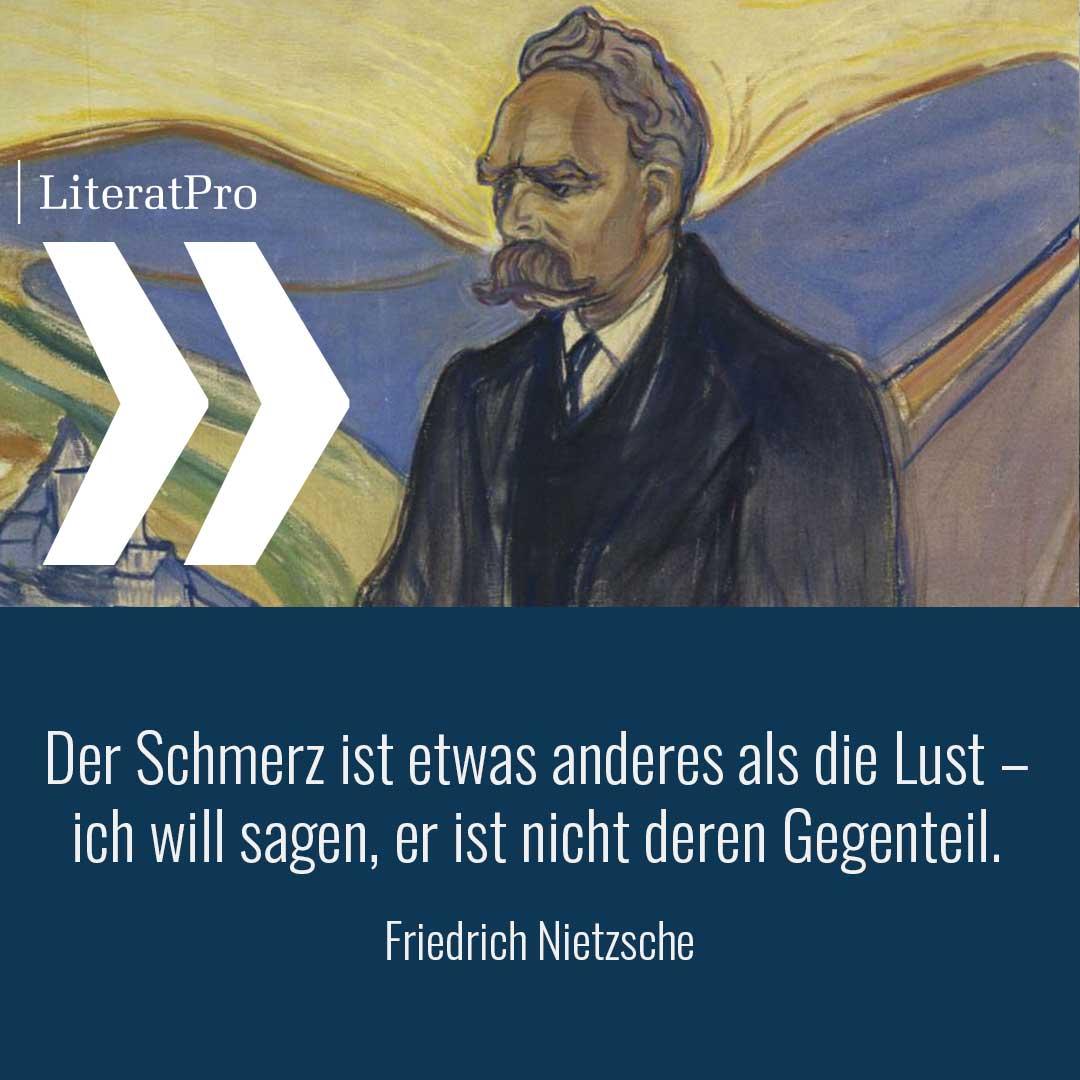 Bild zeigt Nietzsche und Zitat Der Schmerz ist etwas anderes als die Lust – ich will sagen, er ist nicht deren Gegenteil.