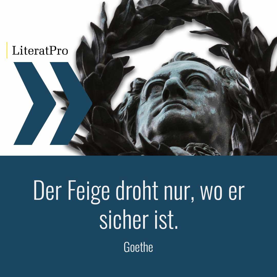 Bild zeigt Goethe und Spruch Der Feige droht nur, wo er sicher ist.