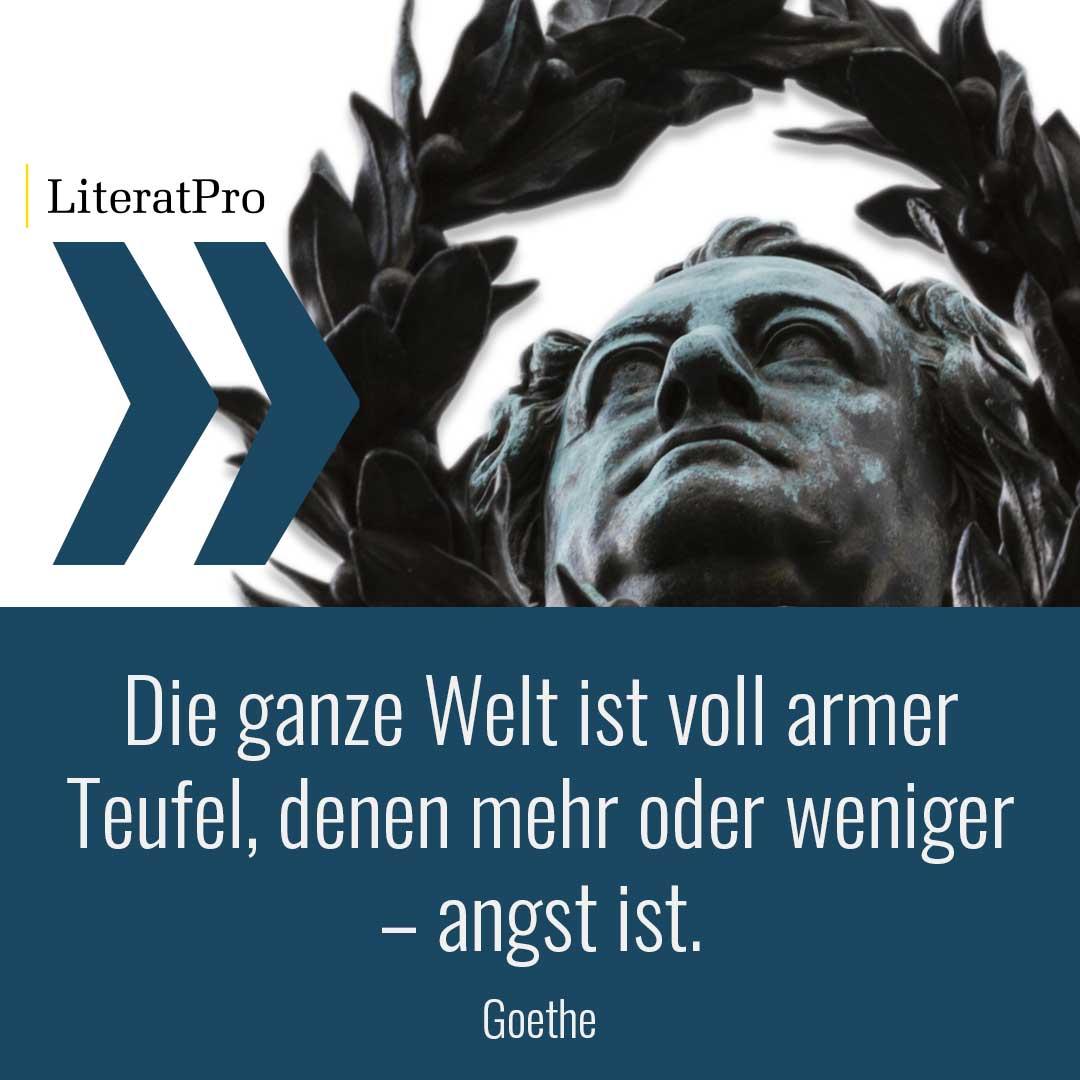 Bild zeigt Goethe und Zitat Die ganze Welt ist voll armer Teufel, denen mehr oder weniger – angst ist.