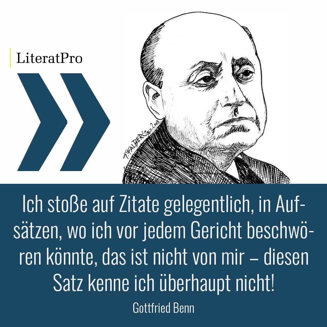 Bild zeigt Gottfried Benn und Zitat