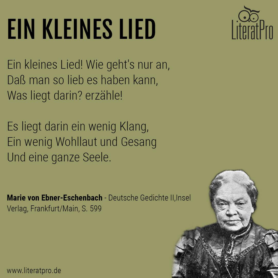 Bild zeigt Marie von Ebner-Eschenbach mit Gedicht Ein kleines Lied
