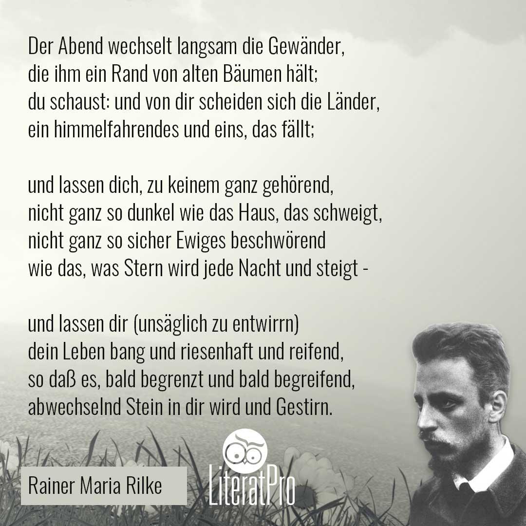 Bild zeigt Gedicht von Rilke Abend