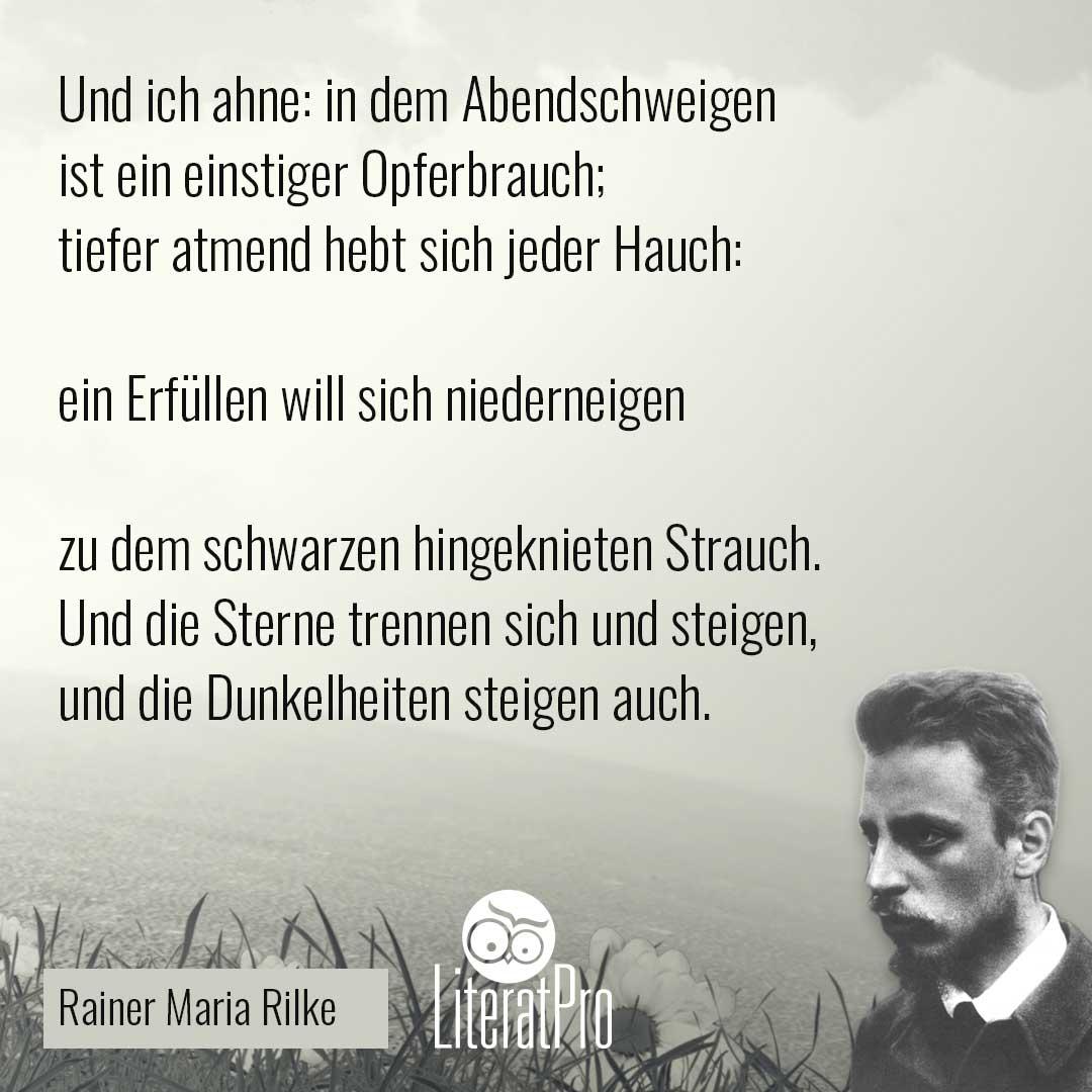 Bild zeigt Gedicht von Rilke Abendschweigen