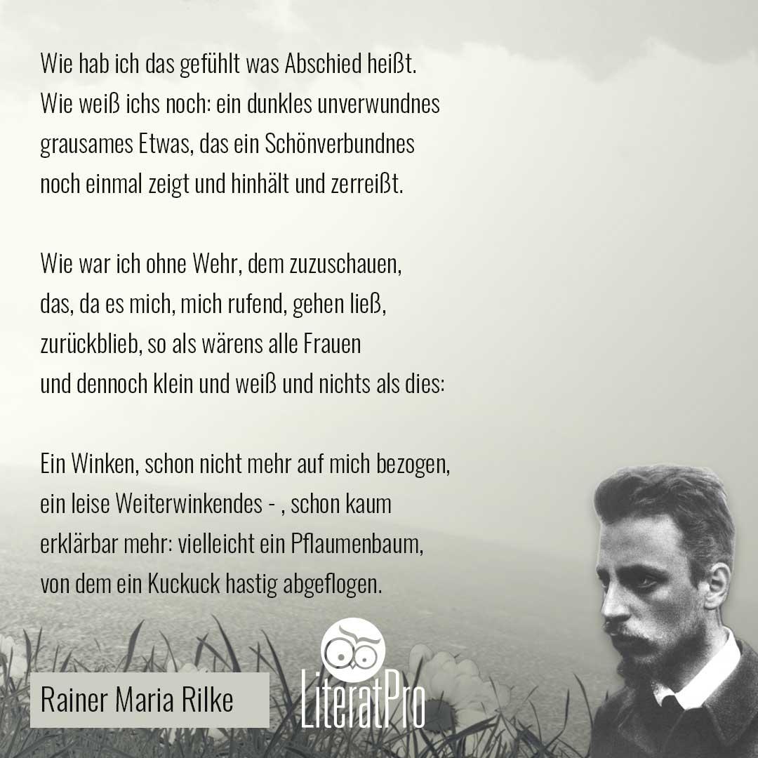 Bild zeigt Gedicht von Rilke Abschied