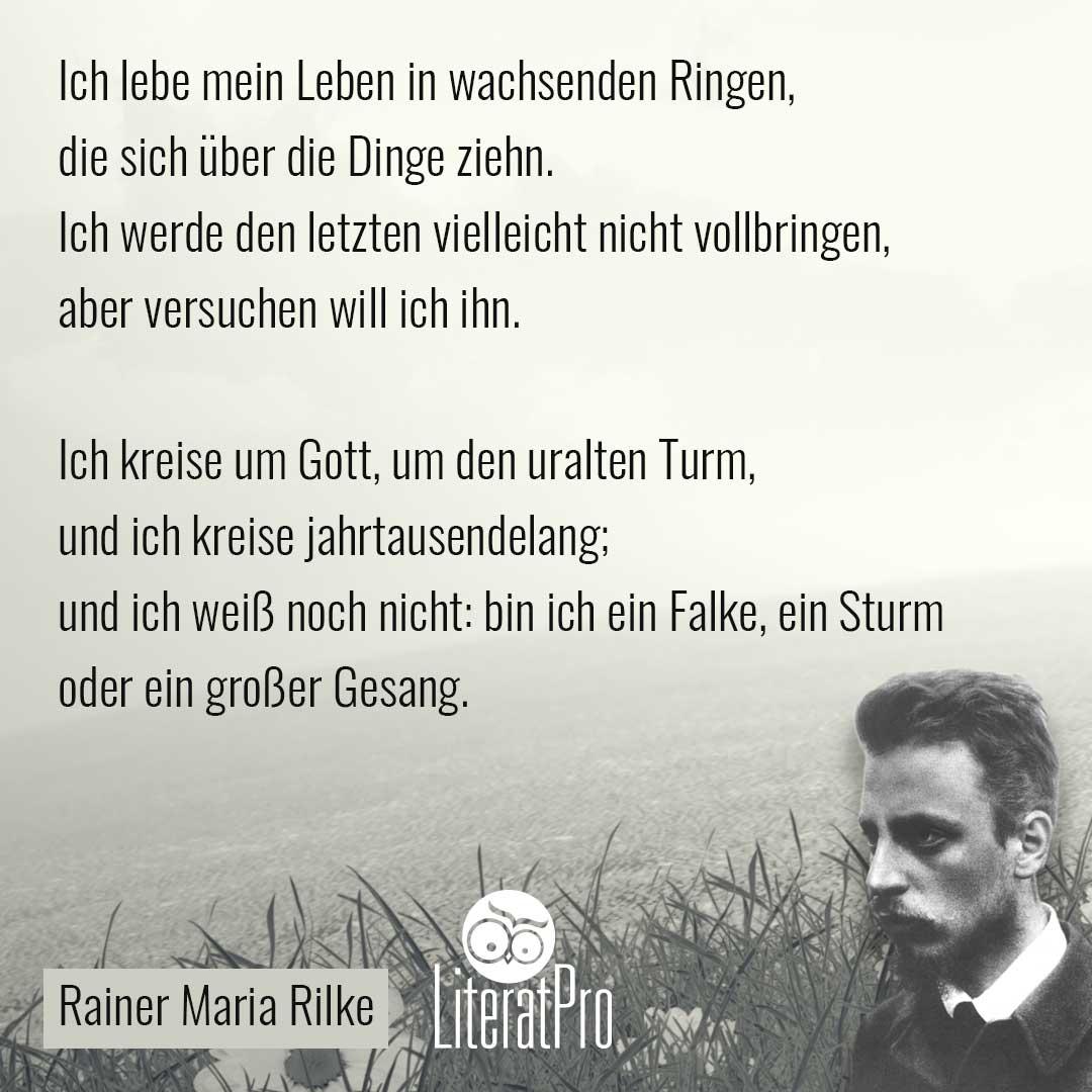 Bild zeigt Rilke und Gedicht Ich lebe mein Leben in wachsenden Ringen