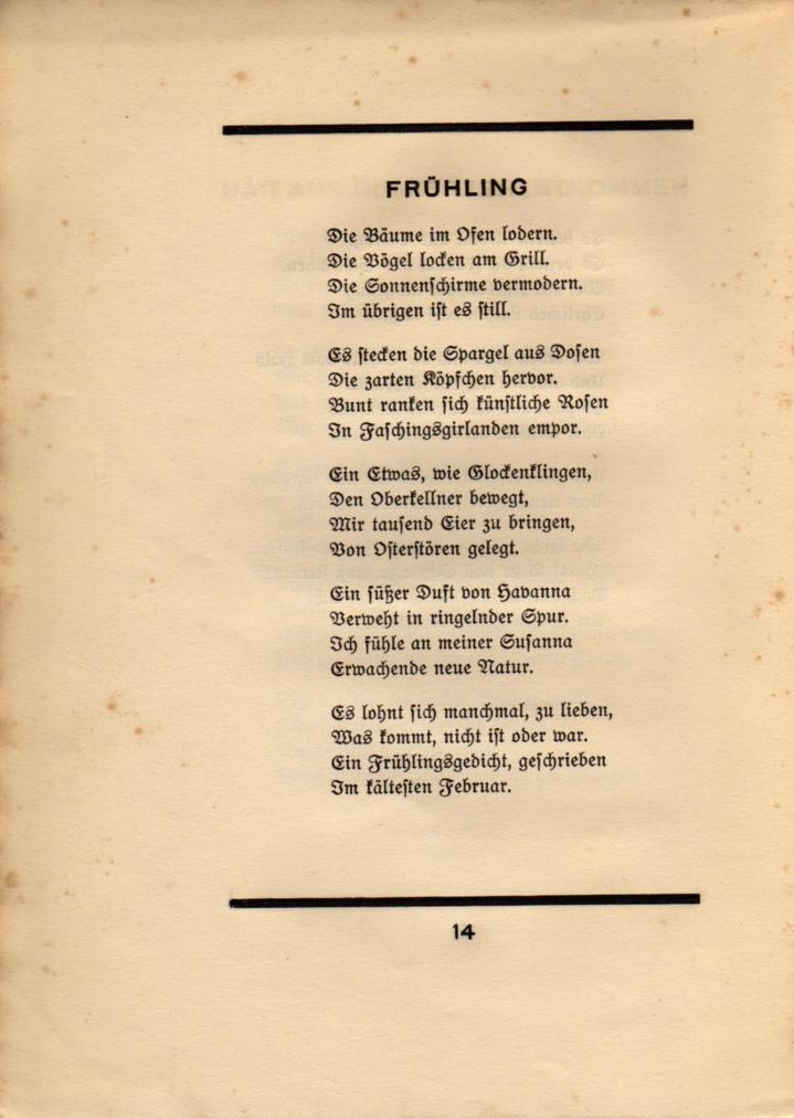 Bild zeigt Gedicht Frühling von Ringelnatz