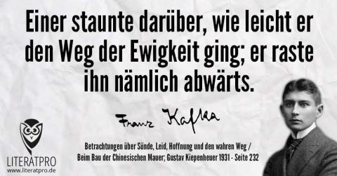 Bild zeigt Zitat von Kafka und Franz Kafka