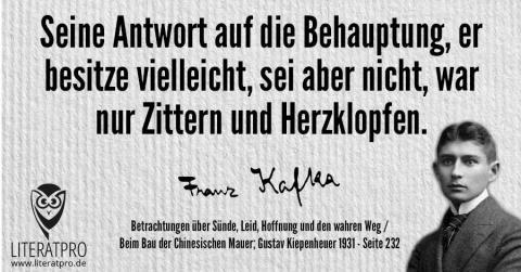 Bild von Franz Kafka und Aphorismus - Seine Antwort auf die Behauptung