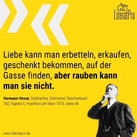 Bild zum Zitat von Hermann Hesse Liebe kann man erbetteln, erkaufen, geschenkt bekommen, auf der Gasse finden, aber rauben kann man sie nicht