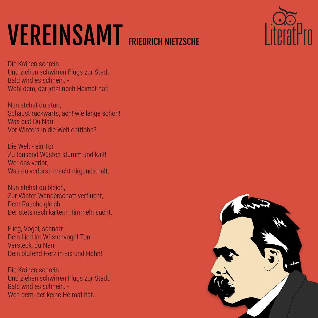 Bild des Gedichts Vereinsamt von Friedrich Nietzsche