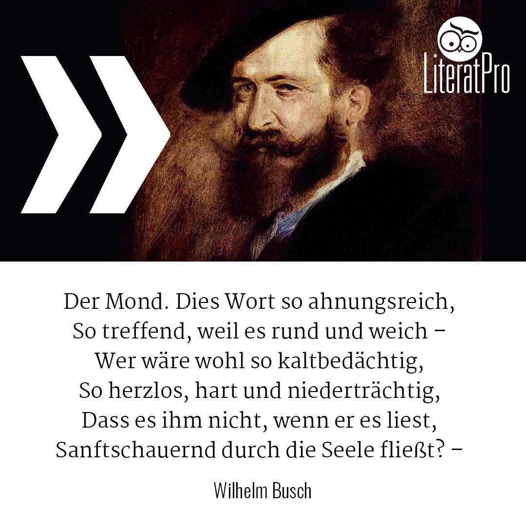 Bild zeigt Wilhelm Busch und gedicht Der Mond